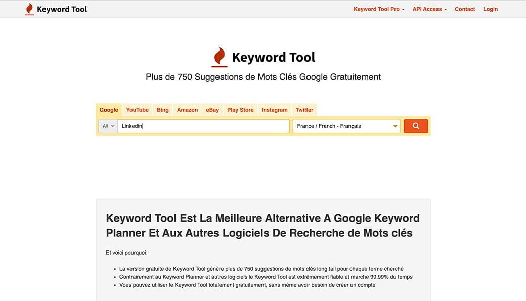 Keyword tool, outil de la Web Box pour trouver des idées de posts