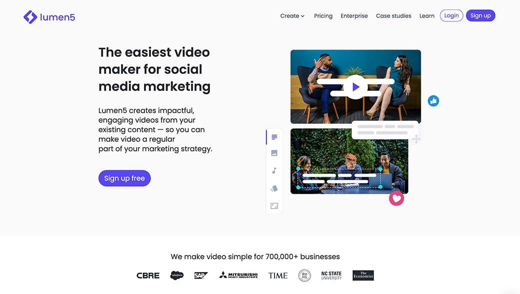 lumen 5, pour créer des vidéos à partir d'un url d'un article de blog
