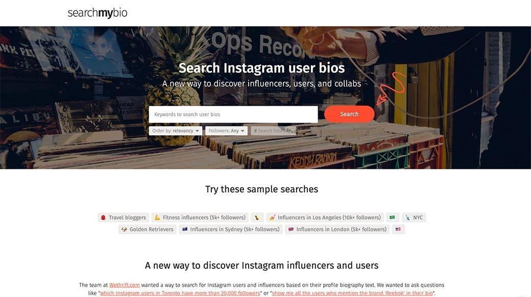 search my bio pour trouver les bons influenceurs sur instagram