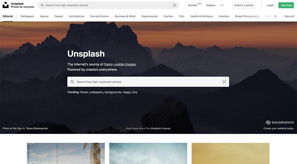 unsplash, une base de données d'images libres de droits
